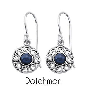 Sterling Silver Drop Earrings with Genuine Sodalite Centre Stone