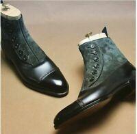 Men's Latest Fine Buttoned Grey Suede and Leather Boots, Botas de hombre