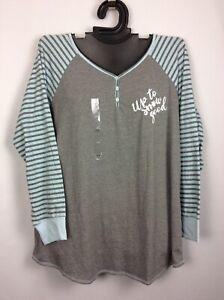 Cacique 18/20 Cotton Blend Sleep Top GRAY SNOW Soft Night Shirt Lane Bryant