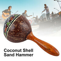 AU_ Coconut Shell Sand Hammer Shaker Percussion Hand Rattle Musical Instrument T