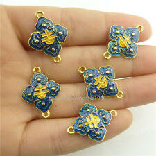 Style Cloisonne Pendant Charms Connector 18541 2pcs Enamel Blue Golden Chinese