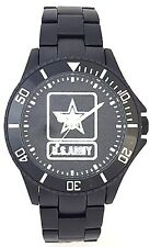 BLACK ALUMINUM ARMY WATCH - MEDALLION DIAL - NEW