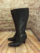 Womens Ravel Black Leather Zip Fastening Mid Heel Long Boots Size EU 39