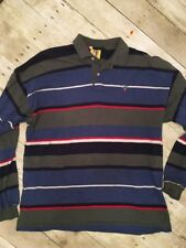 Duck Head Vintage 1990s Long Sleeve Polo Shirt Adult Large Striped Great Cond.