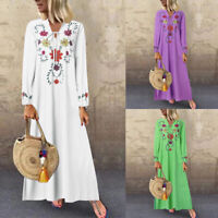 UK Womens Puff Sleeve V Neck Floral Long Maxi Dress Casual Loose Kaftan Dresses