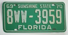 Old 1969 Florida License Plate 8WW-3959