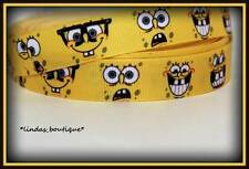 "1 YARD 7/8"" SPONGEBOB FACES CRAFTS HAIRBOW PRINTED GROSGRAIN RIBBON YELLOW"