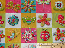 Magic Garden Ladybug Butterfly Small Blocks SPX Fabric by the 1/2 Yard  #22428