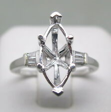 7x15MM Marquise Cut Genuine 14K Solid White Gold Natural Diamond Ring Semi Mount