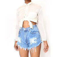 Hot Sexy Womens New High Waist Tassel Short Jeans Denim Slim Pants Summer Shorts