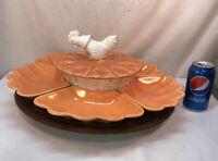 Vtg RARE 60-70's Calif Pottery Lazy Susan Veggie Relish Tray Server ROOSTER LID
