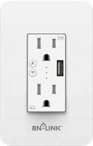 BN-LINK Wifi Smart In-Wall Electrical Outlet with USB Ports Control by Phone