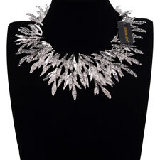 Fashion Silver Leaves Style Chain Chunky Choker Statement Pendant Bib Necklace