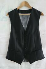 """Mens Black Silky Finish Waistcoat with Contrast Grey Back - Large 42"""" Chest"""