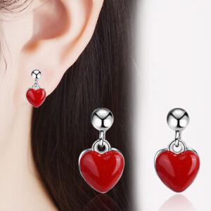 Women's Charm 925 Sterling Silver Red Heart Ear Stud Earrings Party Jewellery