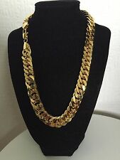 "36"" 15mm Chain 18K Gold Plated Hip Hop Chunky Necklace Unisex Xmas Birthday Gift"