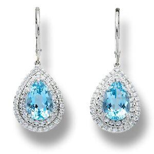 Tiffany & Co. Platinum Soleste 3 ct. Aquamarine and Diamond Drop Earrings