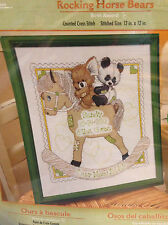 Bucilla - Rocking Horse Bears Baby Birth Record Counted Cross Stitch Kit # 45610