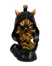 Smoking Demon Horns Hooded Death Skull Handmade Tobacco Smoking Medium Hand Pipe