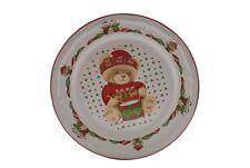 "Tienshan Theodore Bears Christmas Drum 10.5"" Dinner Plate NEW"