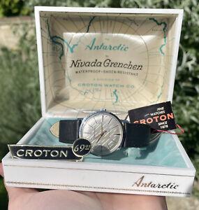 Vintage 1960's Men's CROTON Nivada Grenchen *ANTARCTIC* Glacier Dial! Box/tag.