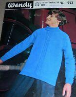 Original Vintage Wendy Knitting Pattern Boy's DK Cable Panel Patt Sweater No 927
