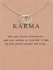 Three Ring and Tone Karma Chain Necklace with Eternity Ring