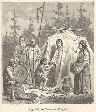 A2136 Tenda di Zingari - Xilografia - Stampa Antica del 1895 - Engraving