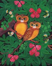 Hand painting Balinese Owl Birds 310