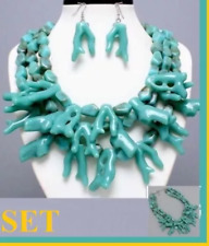 Sea Coral Layered Multi Layer Reef Branch Chunky Nautical Statement Necklace Set