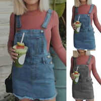Fall Women Denim Jeans Overall Dungaree Mini Dress Ladies Casual Suspender Skirt