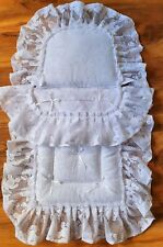 DOLLS  pram  Quilt Set  to fit Silver Cross OBERON pram in WhiteTeddy lace