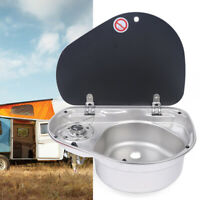 Boat Camper Burner Gas Stove Hob and Sink Combo w/Glass Lid Stainless Steel Sink