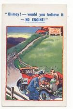 Used Cars For Sale Blimey No Engine Motoring Vintage Comic Postcard 788b