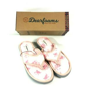 Dearfoams Microfiber Terry Thong Slippers Memory Foam Large 9-10 Floral Pink