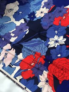 "*ENGLISH* Original Vintage Floral Bubble Crepe Designer Fabric Wide 60""(152cm)"