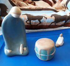Jack Black 3 piece lot Navajo woman kneeling, a Drum, & Basket Pottery Sculpture