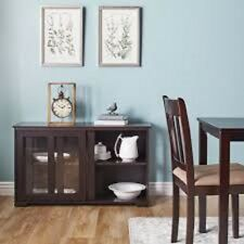 Glass Stackable Cabinet Sliding Door Storage Adjustable Shelf Display Espresso