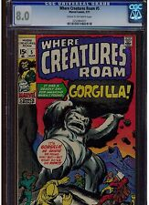 WHERE CREATURES ROAM #5 CGC 8.0 1971 CREAM TO OFF WHITE PAGES GORGILLA MONSTER