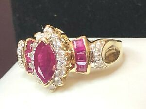 VINTAGE ESTATE 14K GOLD NATURAL RED RUBY & DIAMOND RING SIGNED ADL APPRAISAL