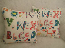 "ALPHABET BY JOHN LEWIS 1 PAIR OF 18"" CUSHION COVERS - DOUBLE SIDED & PIPED"