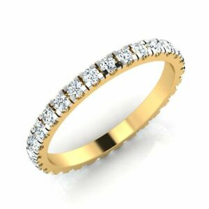 Real 18k Yellow Gold 0.70 Ct Cubic Zirconia Eternity Band Stackable Ring Wedding