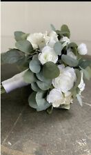 White Ranunculus/rose/eucalyptu s Bridal Bouquet