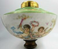 Antique Victorian Cherub Putti Gold Gilt Porcelain Drilled Oil Lamp Font / Body