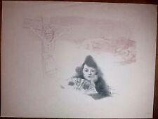 Lithographie originale de Roedel, Souvenir d'Espagne