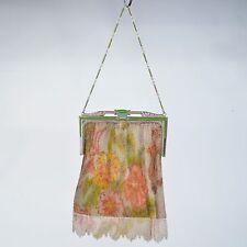 Vintage Whiting & Davis enameled beaded handbag clutch purse silvertone flapper
