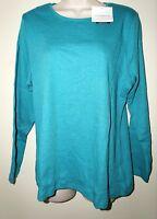 "CROFT & BARROW Women's Long Sleeve Essential Crew Tee Shirt""LAPIS HEATHER""0X NWT"