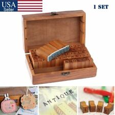 70Pcs Letter Alphabet Number Wood Rubber Stamps Set Wooden Box Multi-purpose US