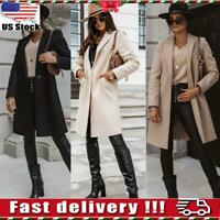 Womens Ladies Trench Blazer Duster Coat Long Overcoat Winter Warm Jacket Outwear