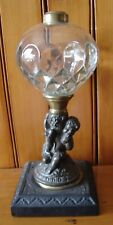 19thC Cast Iron Grape Harvest Pedestal Oil Lamp Hobbs & Co Veronica Glass Font